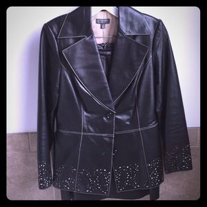 Black leather Skirt Suit w/ Embellished cut outs